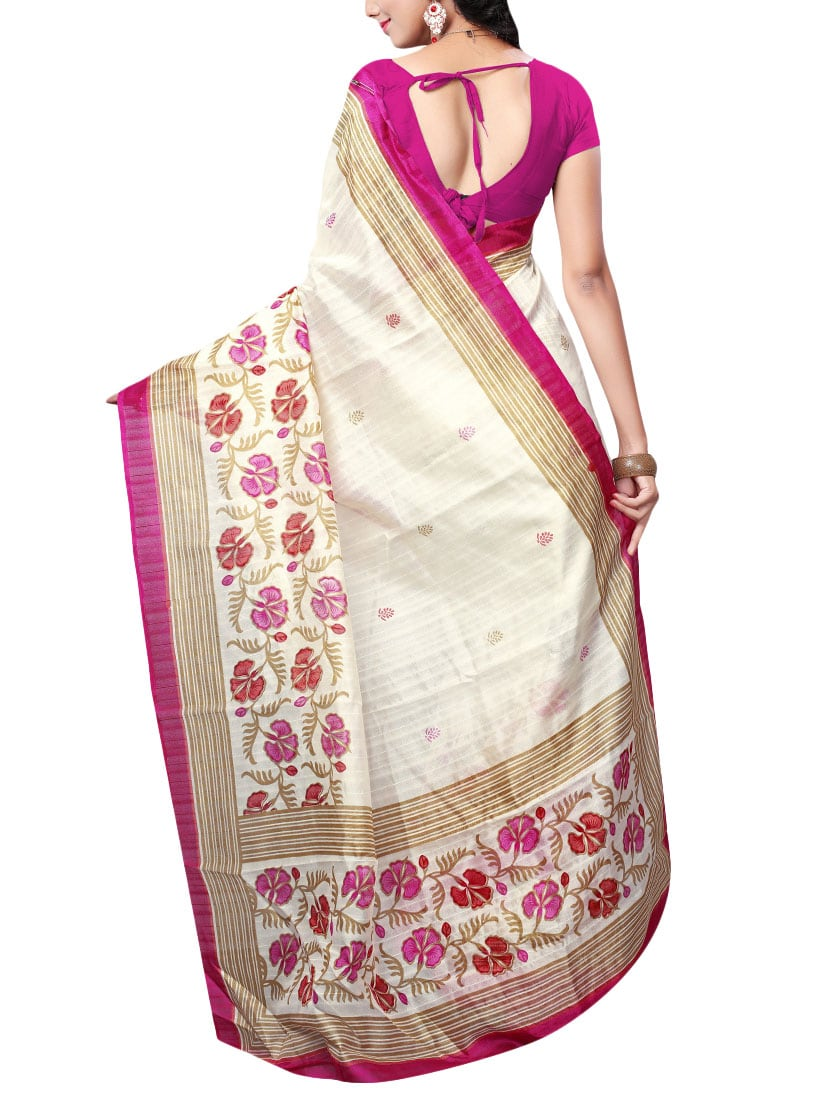 White art silk bhagalpuri saree with blouse