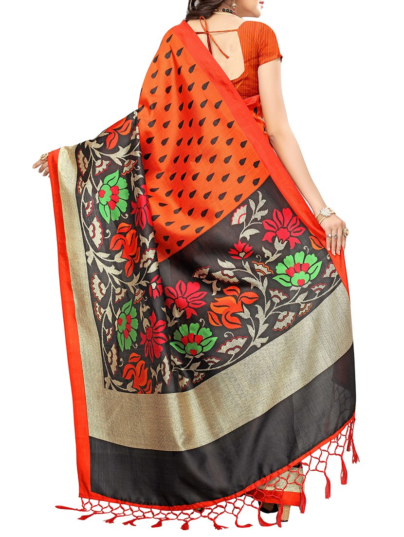 orange art silk mysore saree with blouse