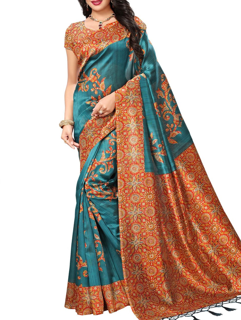 blue art silk mysore saree with blouse