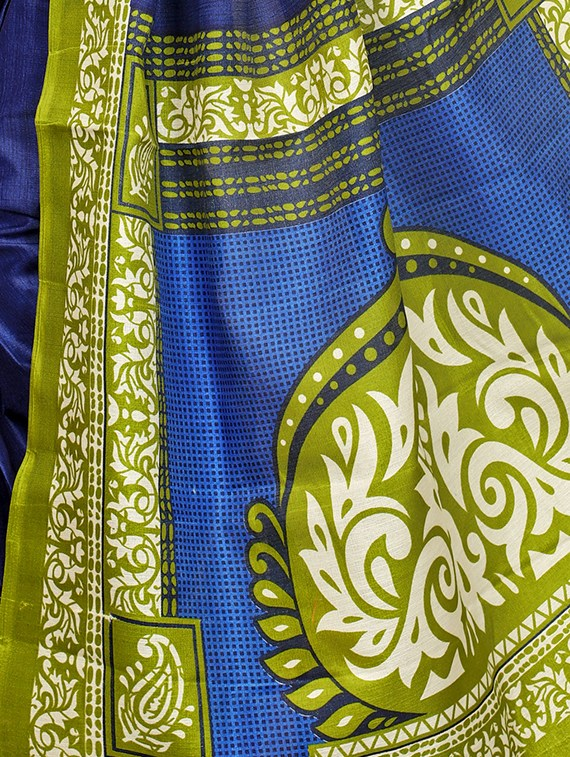blue khadi printed saree with blouse