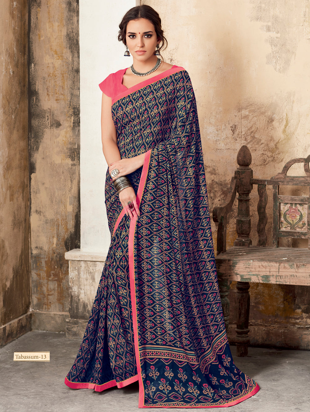 Roop Kashish Women Blue Party Wear Georgette Printed Saree With Border And Georgette Blouse Material_RKSCTABASSUM13