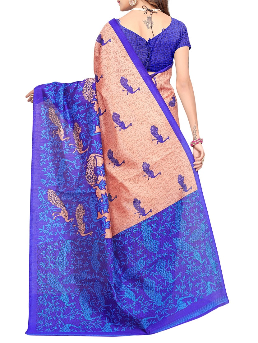 multi art silk bhagalpuri saree with blouse