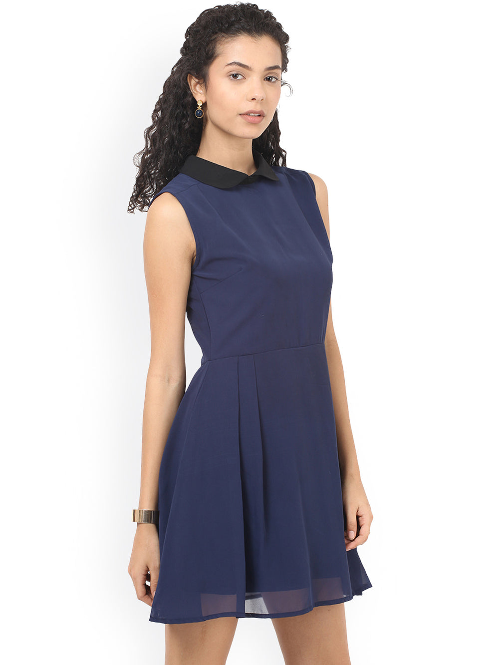 Besiva Women Navy Solid Fit and Flare Dress