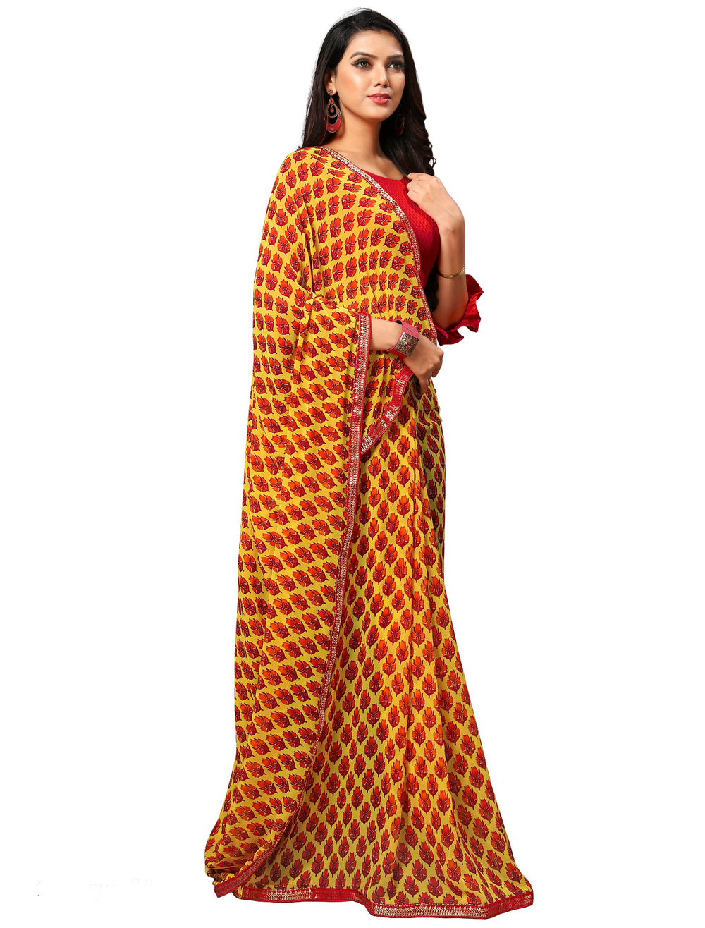 Roop Kashish Women Yellow Party Wear Georgette Printed Saree With Border And Georgette Blouse Material_RKAM8015