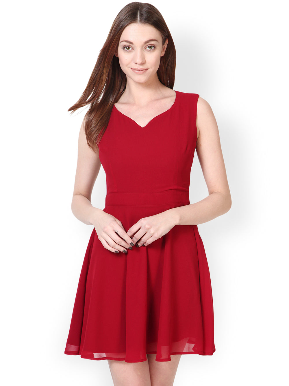 Besiva Maroon Fit & Flare Dress