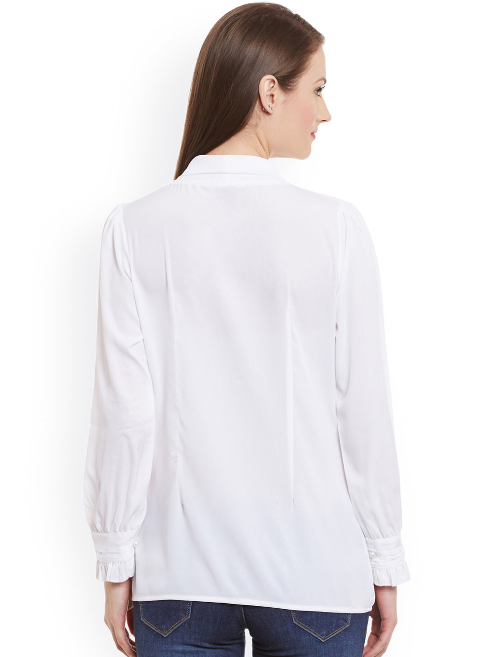 eyelet Women White Solid Shirt Style Top