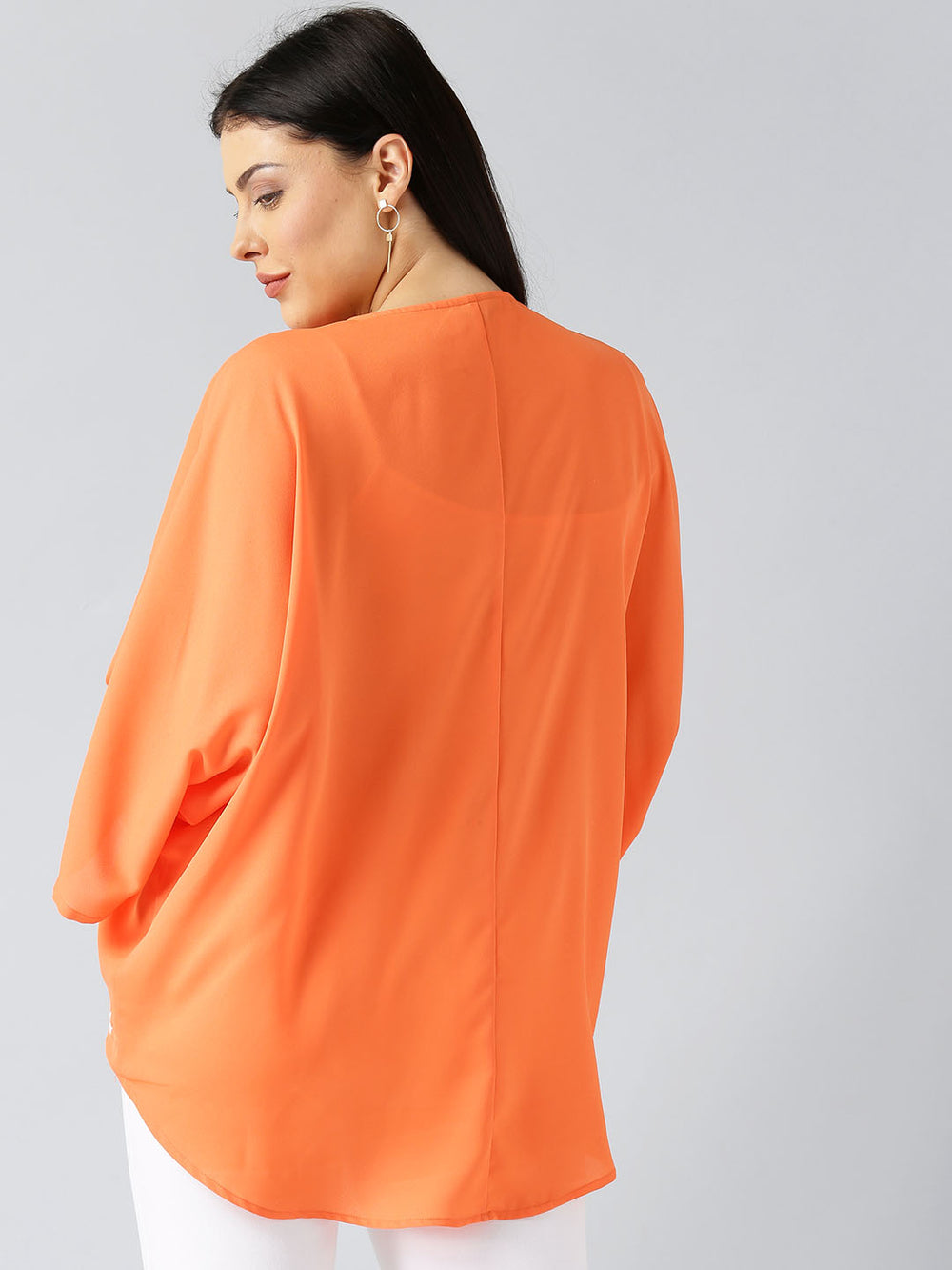 Besiva Orange Solid Open Front Shrug