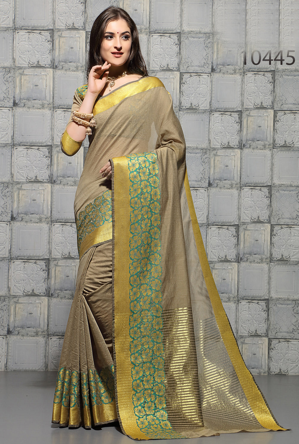 Roop Kashish Women Beige Party Wear woven Cotton Printed Saree And Border And Cotton Blouse Material_RKSCSUNAHARI10445