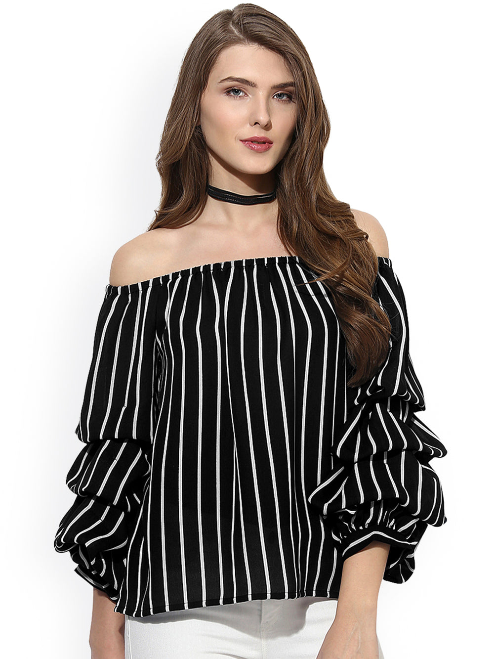 Besiva Women Black Striped Bardot Top