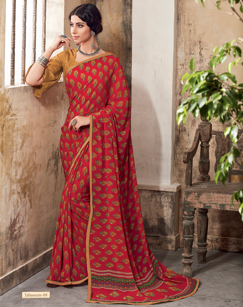 Roop Kashish Women Red Party Wear Georgette Printed Saree With Border And Georgette Blouse Material_RKSCTABASSUM09
