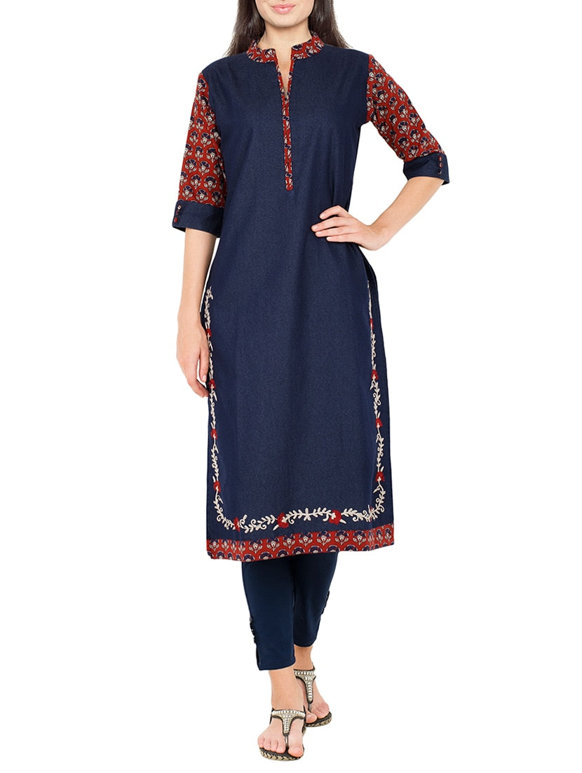 blue denim embroidered straight kurta