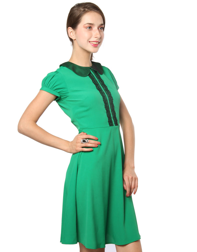 Peter Pan Collar Dress Green