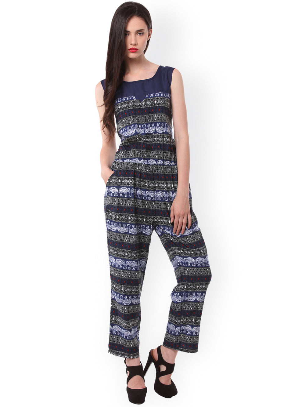 eyelet Blue & White Printed Jumpsuit