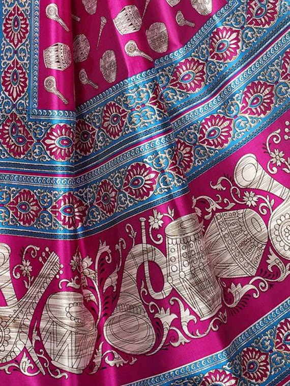 magenta art silk mysore saree with blouse