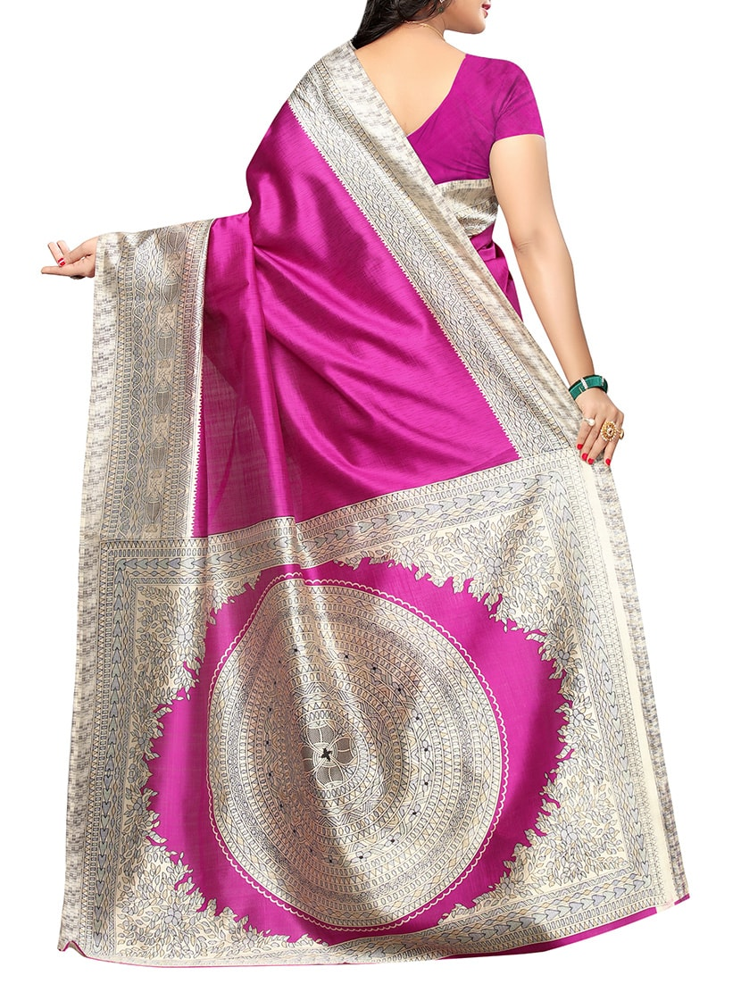Magenta art silk printed saree with blouse