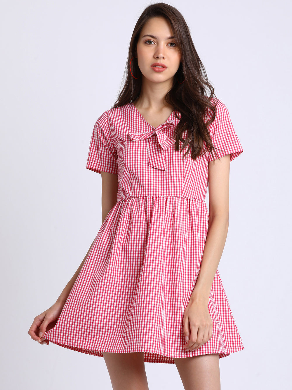 Besiva Women Pink Checked Fit and Flare Dress