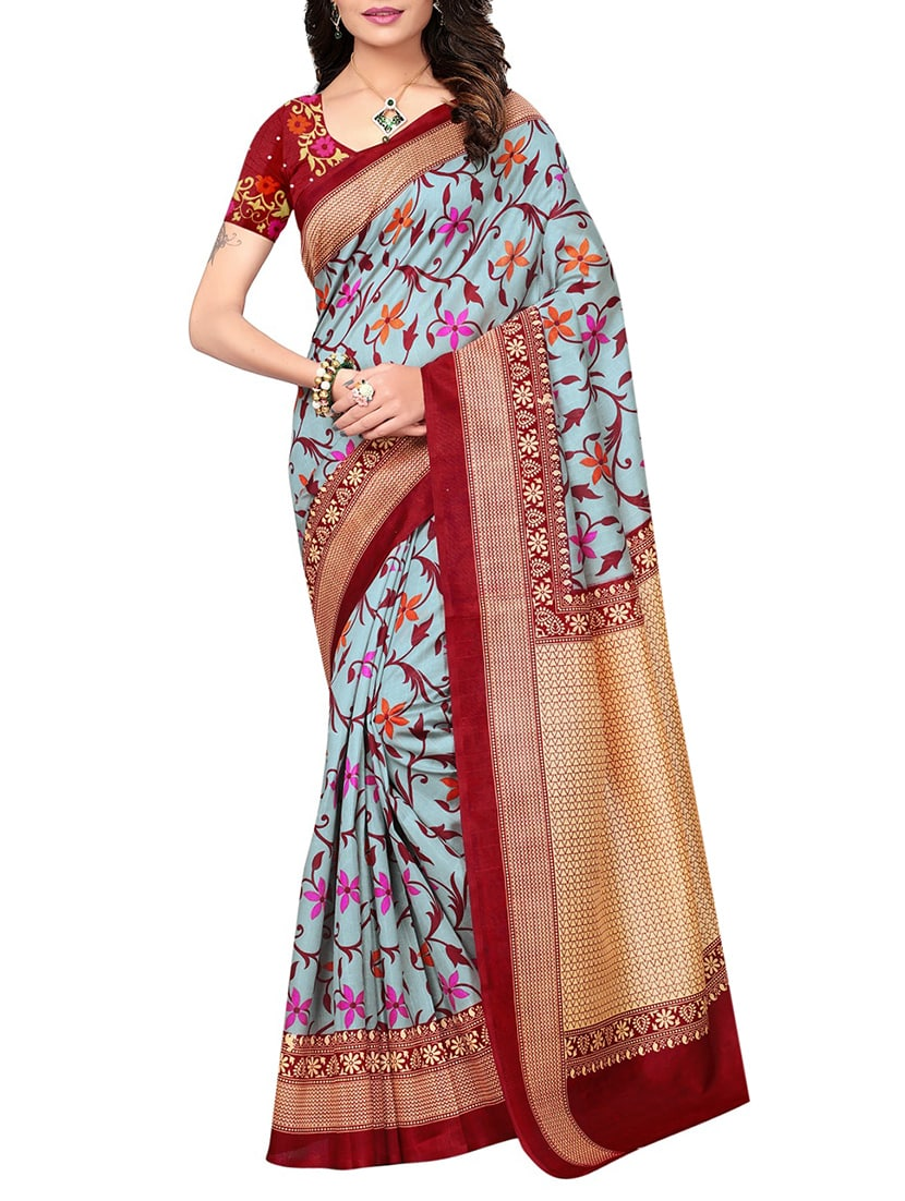 sky blue art silk bhagalpuri saree with blouse