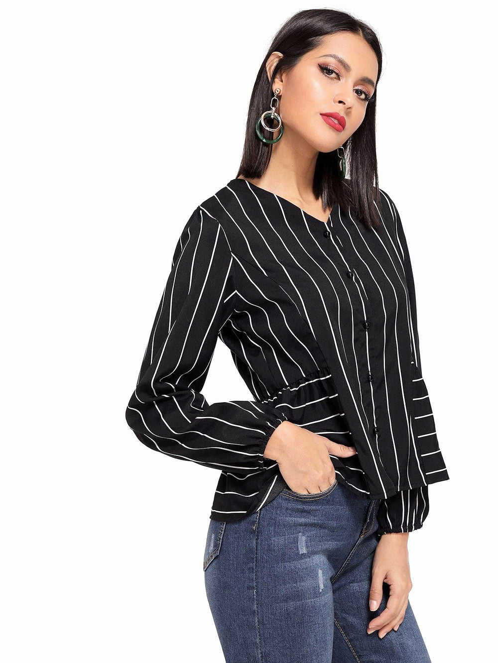 Drawstring Single Breasted Blouse