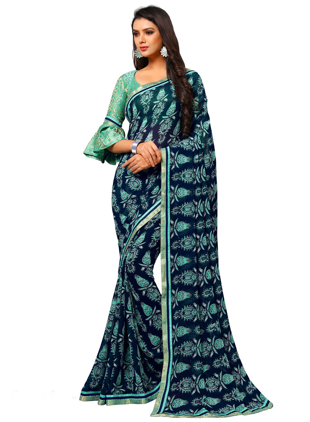 Roop Kashish Women Blue Party Wear Georgette Printed Saree With Border And Georgette Blouse Material_RKAM8030