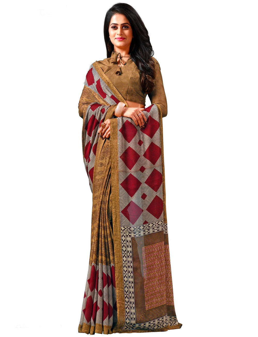 Roop Kashish Women Multi-Coloured Party Wear Georgette Printed Saree And Georgette Blouse Material_RKAM8086