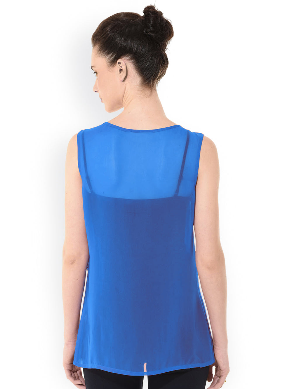Besiva Blue Pleated Top