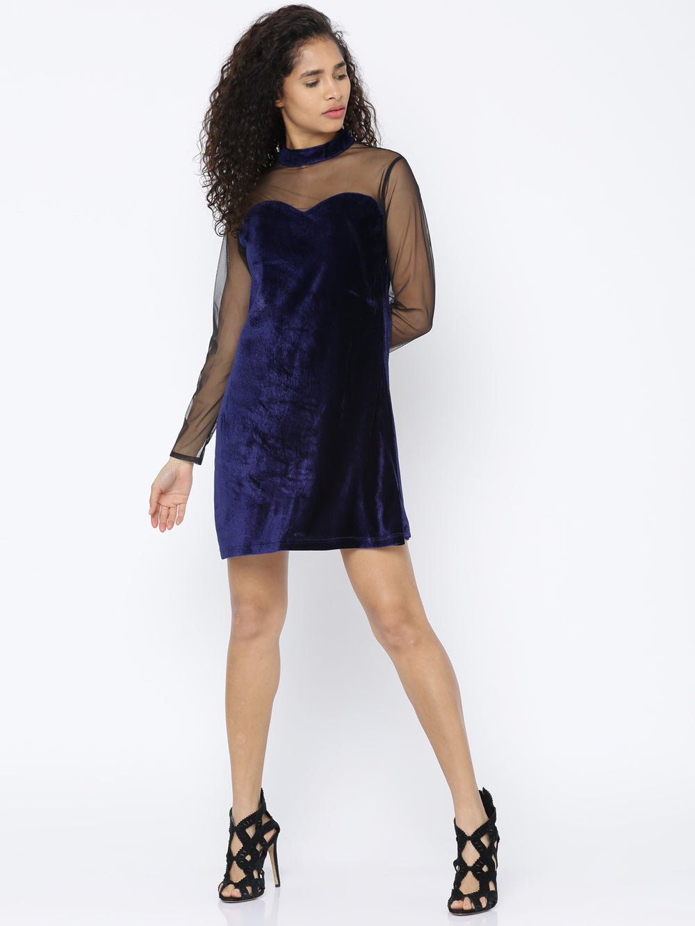 Besiva Women Navy Solid A-Line Dress