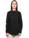 Embellished collar black poplin shirt