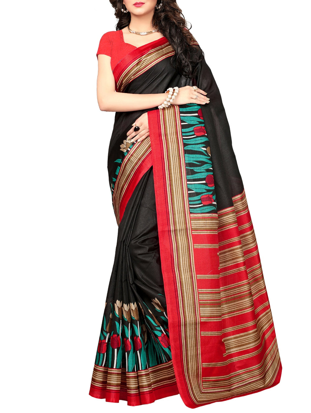 black khadi printed saree with blouse