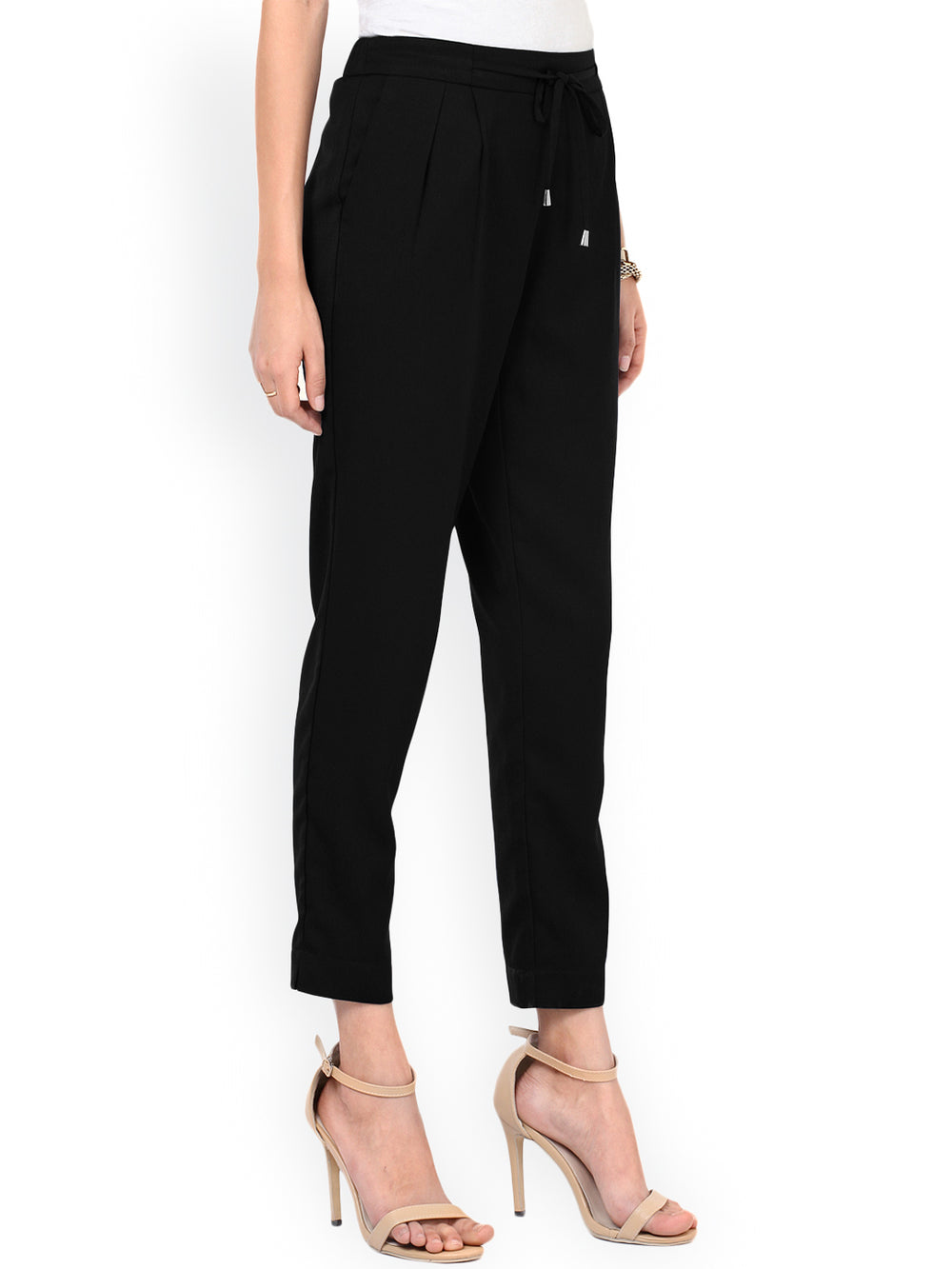 Besiva Women Black Solid Regular Pleated Trousers