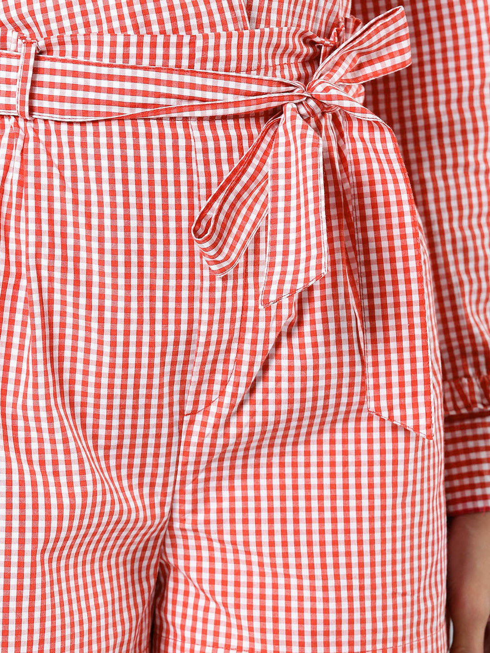 Besiva Women Red & White Checked Regular Shorts