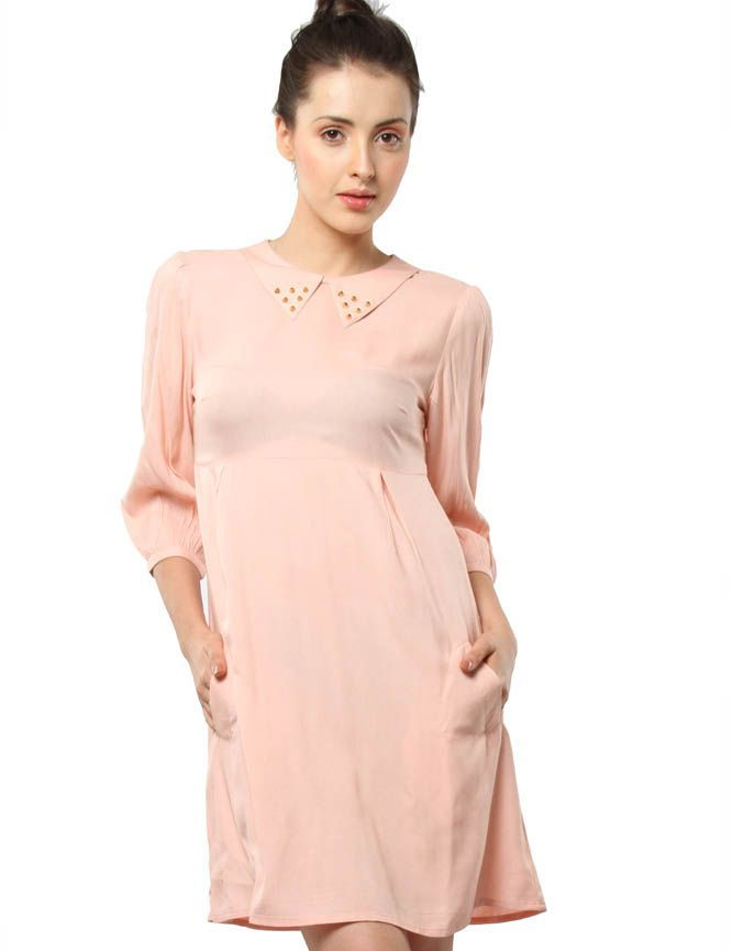 Studded Collar Dress Nude