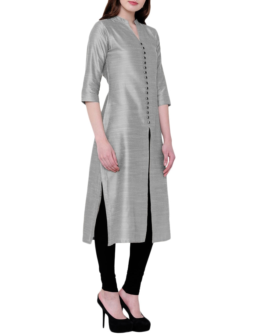 grey silk straight kurta