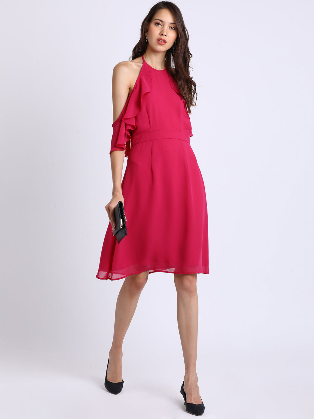 Besiva Women Pink Solid Fit and Flare Dress