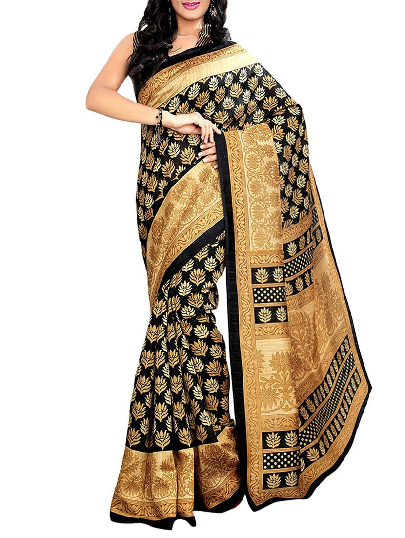 black art silk bhagalpuri saree with blouse