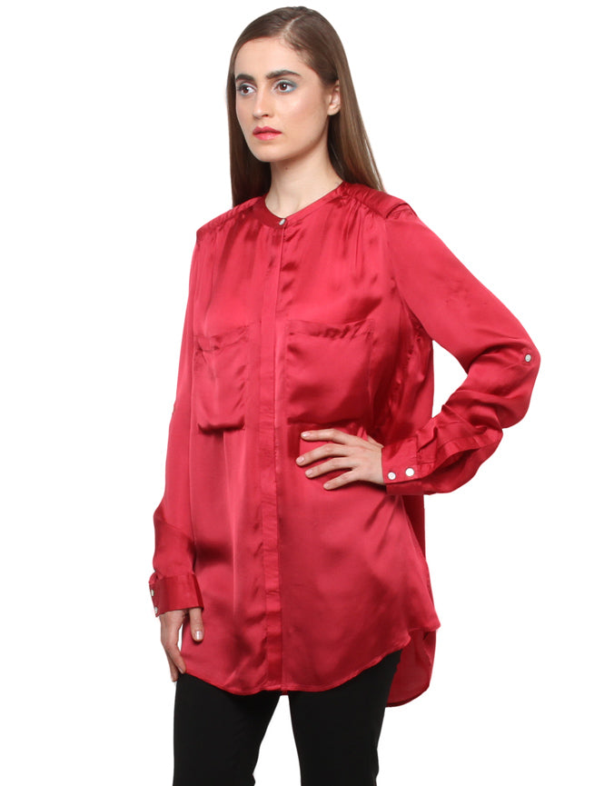 Cupro Satin Full Sleeves Shirt