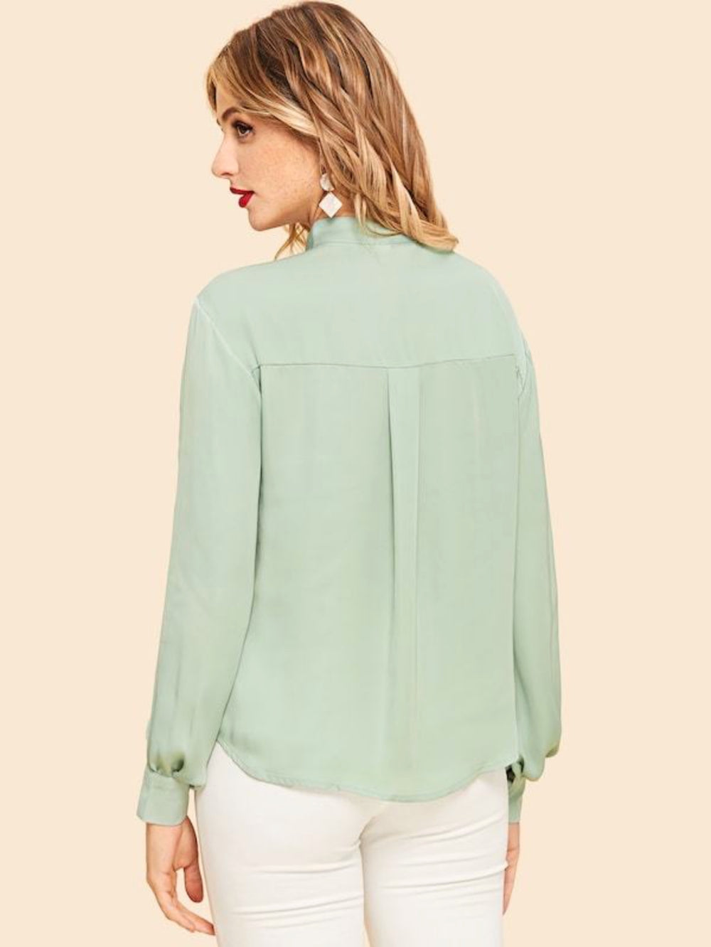 Fuddy-Duddy Casual Full Sleeve Solid Women's Light Green Top