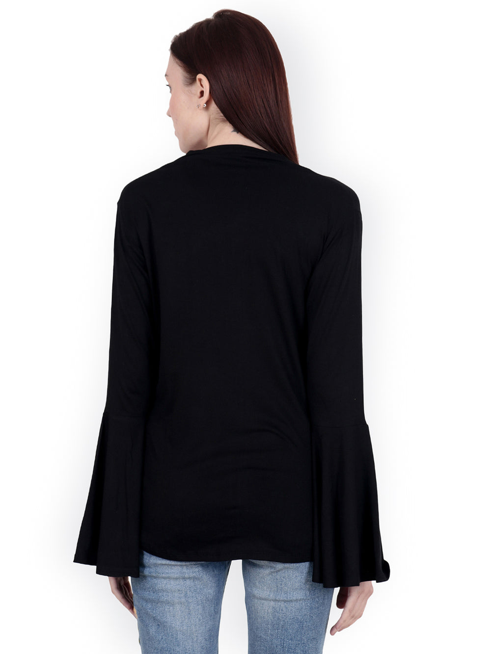 SCORPIUS Black Solid Open Front Shrug