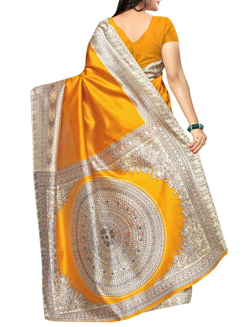 Yellow art silk printed saree with blouse