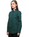 Embellished collar green poplin shirt