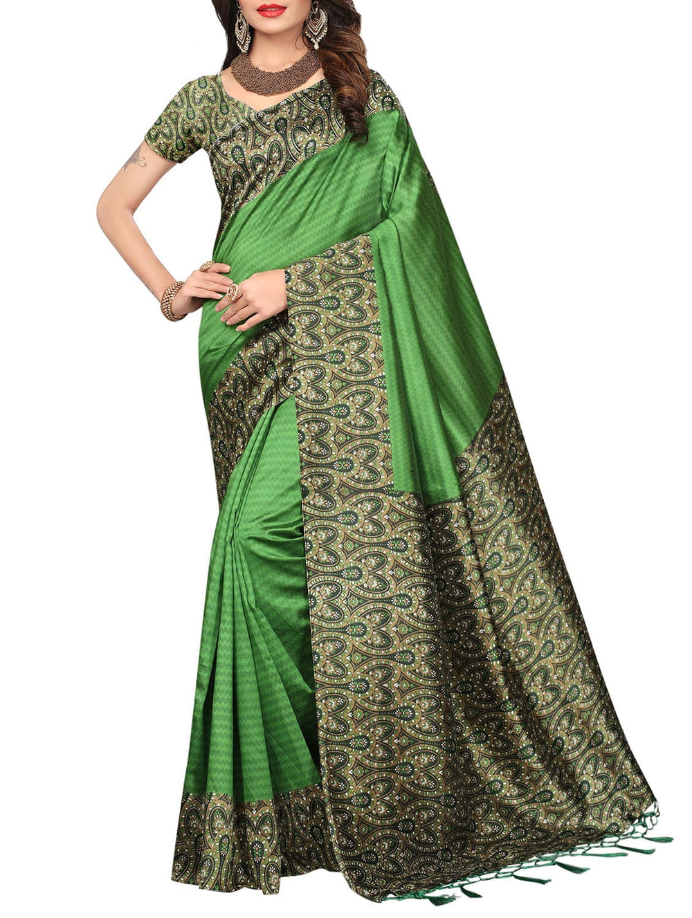 green art silk printed saree with blouse