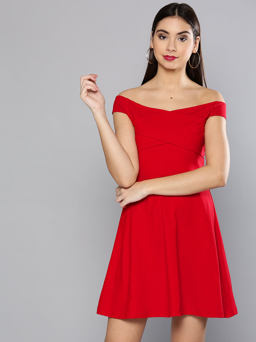 Besiva Women Red Solid Off-Shoulder Mini Fit & Flare Dress
