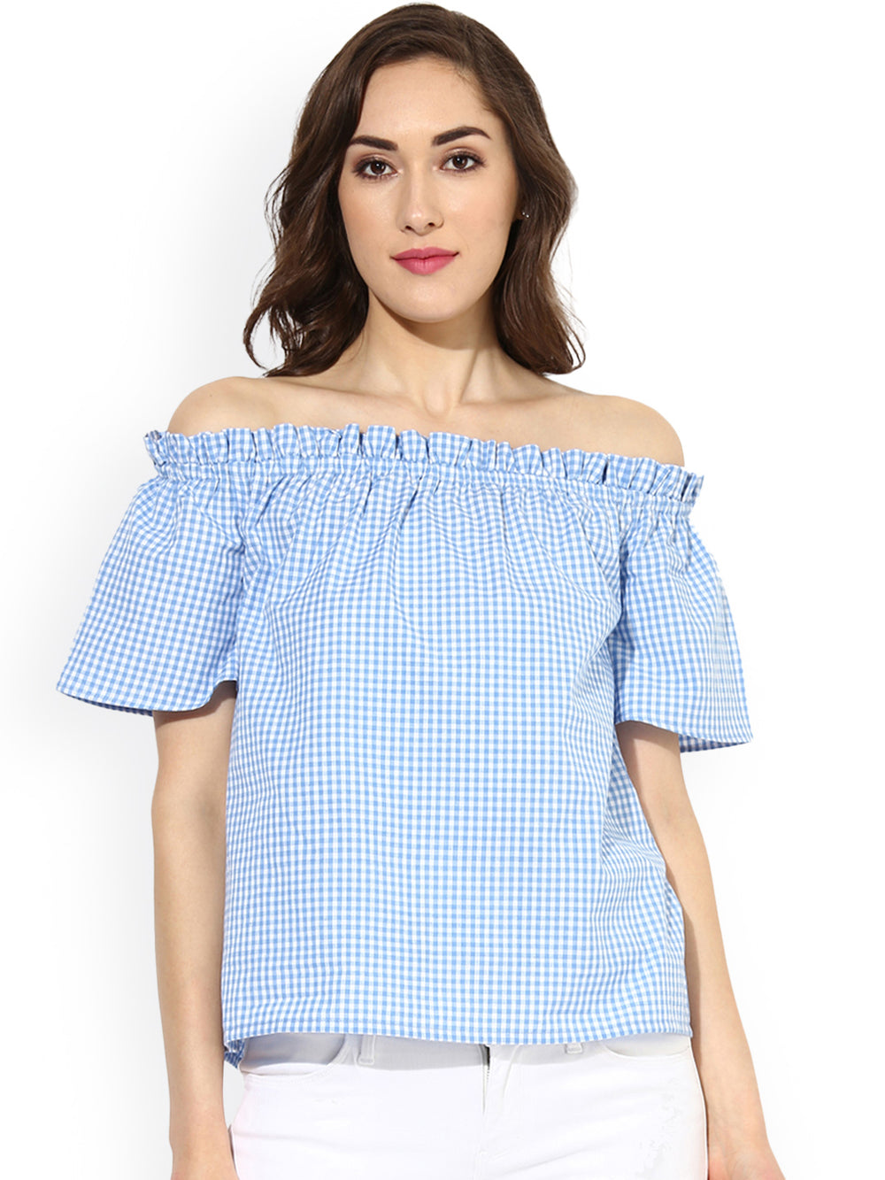 Besiva Women Blue Checked Bardot Top