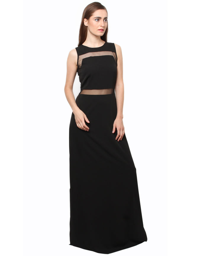 XnY black mesh insert maxi dress