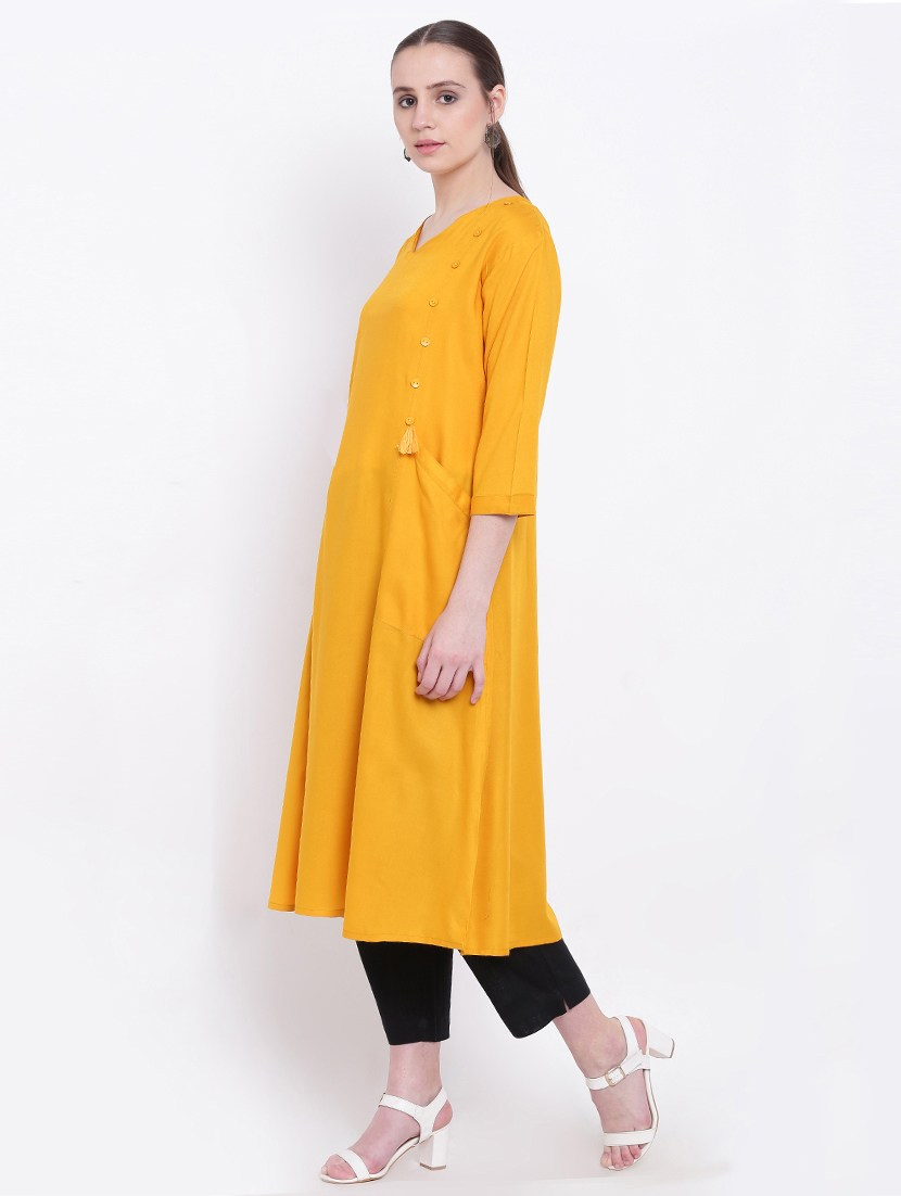 yellow rayon solid kurta