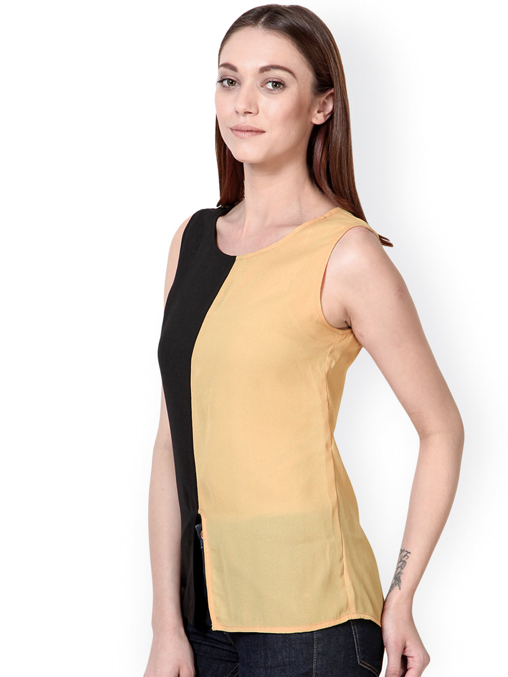 Besiva Women Beige & Black Top