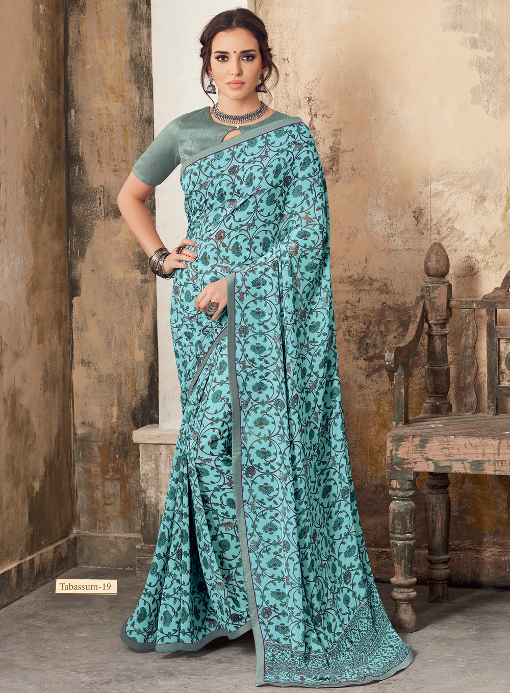 Roop Kashish Women Turquoise Party Wear Georgette Printed Saree With Border And Georgette Blouse Material_RKSCTABASSUM19
