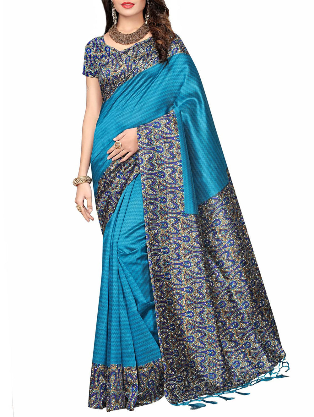 blue art silk printed saree with blouse
