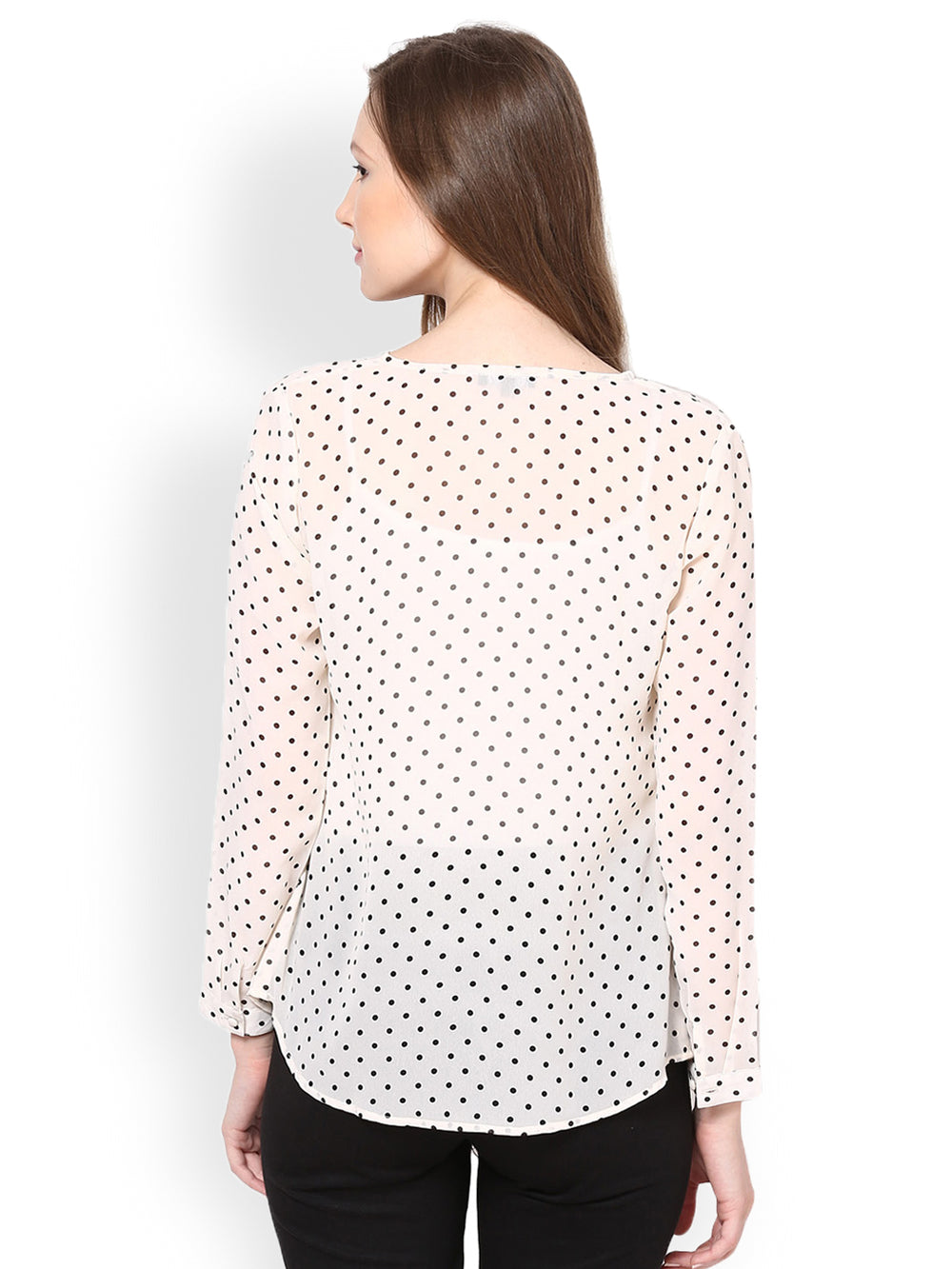 Besiva Women White Polka Dot Print Top