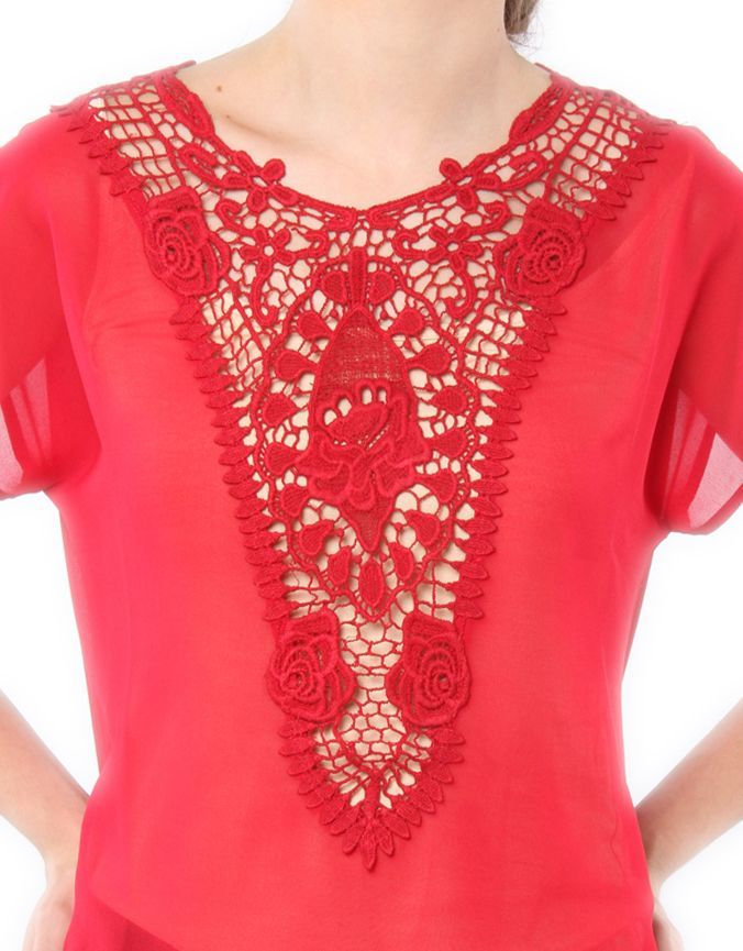 Lace bib Design Top Red