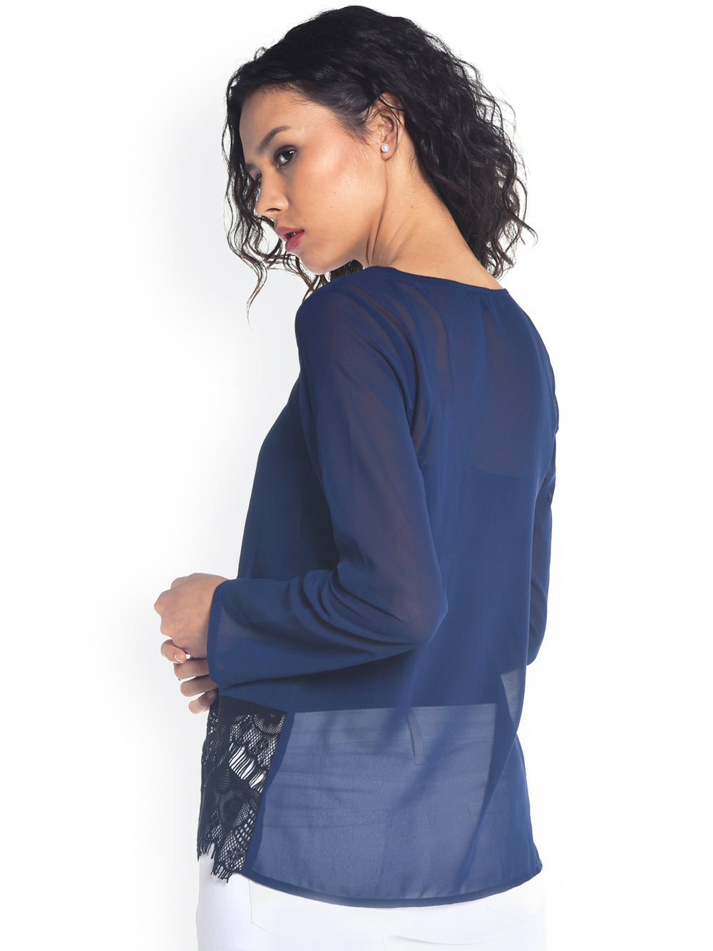 Besiva Navy Sheer Top